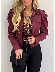 cheap -Women's Faux Leather Jacket Short Solid Colored Holiday Active Black Wine Army Green Camel S M L XL