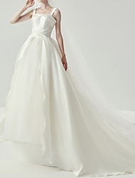 cheap -Ball Gown Wedding Dresses V Neck Chapel Train Satin Sleeveless Formal Simple with 2021
