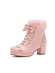 cheap -Women's Heels Chunky Heel Round Toe Booties Ankle Boots Casual Daily Party & Evening Walking Shoes Leather PU Bowknot Lace-up Solid Colored Almond Pink / Grey White / Booties / Ankle Boots