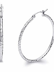 cheap -14k real white gold 1.5mm thickness hinged hoop earrings (35 x 35 mm)