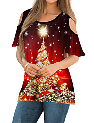 cheap -Women's Christmas Blouse Shirt Graphic Christmas Tree Cold Shoulder Round Neck Tops Basic Christmas Basic Top Blue Purple Red
