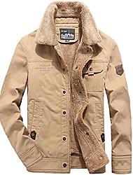 cheap -men's winter sherpa lined trucker jacket  warm cowboy coat with fur collar khaki us s