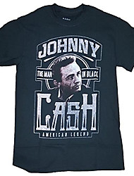 cheap -fashion johnny cash american legend the man in black graphic tshirt , large 4245