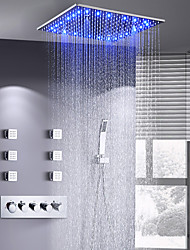 cheap -16 Inch Shower Faucets Sets Complete with Spray Rainfall Shower Head Ceiling Mounted LED 6 Body Jet Message Shower Head System(Contain Shower Faucet Rough-in Valve Body and Trim)
