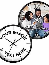 cheap -custom personalized photo wall clock - add your photo, picture, logo or any design - create your own clock for family, friends - made in usa