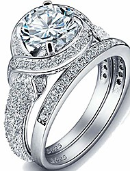 cheap -white gold plated two-in-one wedding engagement bridal ring set (silver, 7)