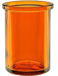 """cheap -50% recycled glass candle holder (2¼-inch interior diameter x 3¾-inch"""" tall) - orange"""