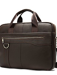 cheap -Men's Bags Cowhide Laptop Bag Briefcase Crossbody Bag Zipper Daily Going out Handbags Chain Bag Coffee