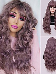 cheap -dust lavender long wavy curly wigs with air bangs for women girl 28'' natural looking women's lavender water wave hair replacements wigs