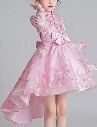 cheap -Kids Little Girls' Dress Floral Tulle Dress Bow Blushing Pink Beige Above Knee Long Sleeve Cute Sweet Dresses Children's Day Regular Fit