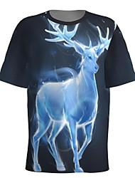 cheap -Men's T shirt 3D Print Graphic 3D Animal Print Short Sleeve Christmas Tops Round Neck Blue