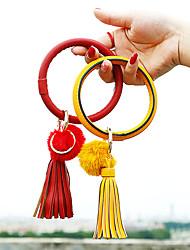 cheap -5pcs leather wristlet keychain bracelet keyring bracelets tassel bangle key ring chain for women girls