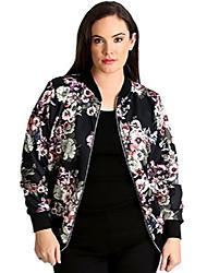 cheap -womens plus size bomber jacket ladies floral print varsity style ribbed long sleeve coat black us size 16