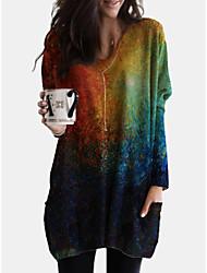 cheap -Women's Shift Dress Knee Length Dress - Long Sleeve Print Color Gradient Print Fall V Neck Casual Loose 2020 Blue Green S M L XL XXL 3XL