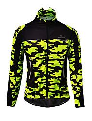 cheap -Malciklo Men's Cycling Jacket Winter Fleece Bike Jacket Top Thermal Warm Windproof Breathable Sports Patchwork Yellow / Army Green / Camouflage Mountain Bike MTB Clothing Apparel Loose Bike Wear