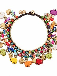 cheap -elephant charm anklet for women teen girls natural stone bohemian handmade chain ankle bracelet gifts (f)