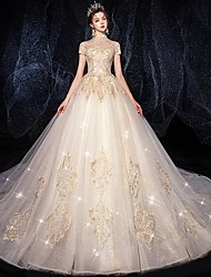cheap -Ball Gown Wedding Dresses Jewel Neck Court Train Lace Tulle Short Sleeve Country Romantic with Embroidery Appliques 2020