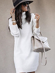cheap -Women's Sweater Jumper Dress Knee Length Dress - Long Sleeve Solid Color Fall Turtleneck Elegant Casual Slim 2020 White Yellow Blushing Pink Khaki Navy Blue Gray S M L XL XXL 3XL