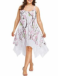 cheap -fashion women plus size floral printed chiffon asymmetrical caims sleeveless sexy casual beach party dress (xl, white)