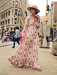 cheap -Women's Swing Dress Maxi long Dress Beige Long Sleeve Print Patchwork Print Summer V Neck Boho Lantern Sleeve 2021 S M L XL XXL