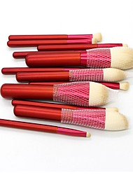cheap -New 12 piece China Red make up brush animal hair make up brush beauty tool China style make up brush bag
