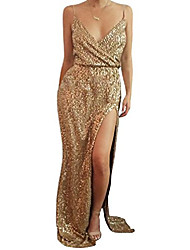 cheap -women sexy sequins lace evening dress v-neck formal gowns with high split us10 gold