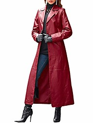 cheap -Women's Coat Daily Fall Winter Long Coat Regular Fit Warm Fashion Fashion Modern Jacket Long Sleeve Solid Color Maroon Blue Spring Holiday