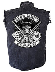 cheap -men's aces and eights denim sleeveless cutoff biker shirt-charcoal-medium