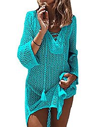 cheap -women's lace-up bathing suit bikini swimsuit crochet tunic cover up swimwear dress beach top (green)