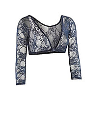 cheap -women's basic 3/4 length slip-on lace sleeves - navy - x-small