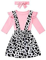 cheap -3pcs girls halloween suspender skirt set fashion long sleeve double shoulder ruffle shirts adjustable strap dress playwear 4-5t