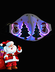 cheap -Christmas Mask 7 Colors Voice Control LED Mask Face Christmas Gift Ornaments 4 Modes One Size with Light-up Christmas Tree Snowman Pattern USB Rechargeble for Party Holiday