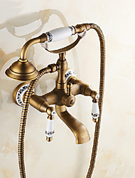 cheap -Bathtub Faucet, Antique Brass/Electroplated Pull Out Widespread, Brass Bathtub Faucet Retro Wall Installation Bath Shower Mixer Taps with Handshower/Drain
