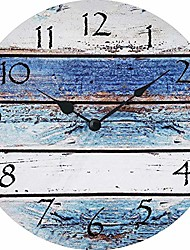 cheap -silent decorative wall clock blue and white rusitic wooden 10 inch wall decor arabic numerals for bedroom living room kitchen frameless