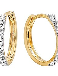 cheap -0.20 carat (ctw) 14k round white diamond ladies huggies hoop earrings, yellow gold
