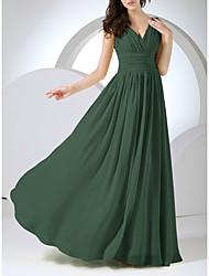 cheap -A-Line Minimalist Elegant Prom Formal Evening Dress V Neck Sleeveless Floor Length Chiffon with Pleats Ruched 2021