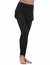 cheap -women's high waist leggings with attached ruched side mini skirt, 041_l-xl