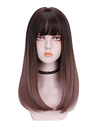 cheap -Synthetic Wig Curly With Bangs Wig Medium Length Brown Synthetic Hair 16 inch Women's Comfy Fluffy Brown