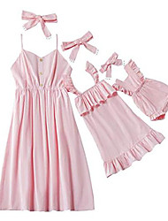 cheap -mommy and me summer casual spaghetti straps beach mini dress with headband for family matching outfit (girls 2years,pink)