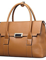 cheap -fashion big size lady cowhide leather casual tote top handle shoulder cross body handbag style purse satchel bag for women (big, brown)
