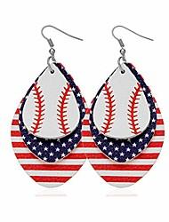 cheap -punk rock 2pcs alloy hook earrings drop dangle baseball pattern multi-layer leather earrings