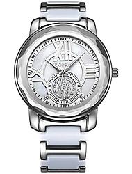 cheap -women luxury elegant roma words rhinestone shell dial bangle bracelet imitation ceramics watches fashion lady dress big case watch analog wristwatch silver white