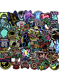cheap -50PCS Neon Light Stickers Cool Funny Car Styling Bomb JDM Decals Animal Cartoon Toy Bike Motorcycle Phone Laptop Travel