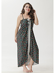 cheap -Women's Swing Dress Maxi long Dress Black Sleeveless Polka Dot Patchwork Hollow To Waist Print Summer Strapless Hot Sexy 2021 XL XXL 3XL 4XL 5XL / Plus Size