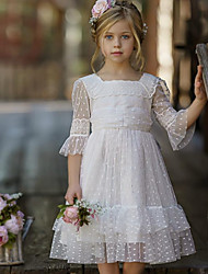 cheap -A-Line Knee Length Party / Wedding Flower Girl Dresses - Tulle Half Sleeve Jewel Neck with Tier / Solid