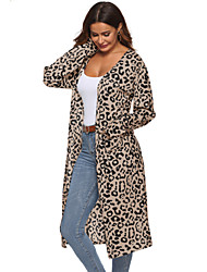 cheap -Women's Leopard Fall & Winter Trench Coat Long Going out Long Sleeve Cotton Blend Coat Tops Red