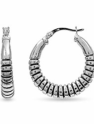 cheap -sterling silver jewelry light weight antique finish click-top hoop earring for women