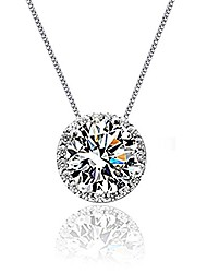 cheap -sterling silver solitaire single cubic zirconia diamond halo pendant wedding necklace 18 inch chain for women girls