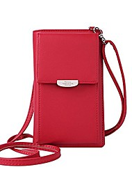 cheap -fashion wallet women mini crossbody bag cell phone pouch small handbag card holder coin purse girls shoulder bag (red)