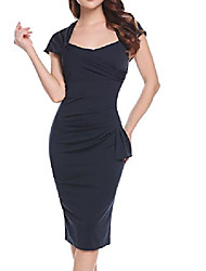 cheap -women's 50s cap sleeve slim fit business bodycon pencil dress black small